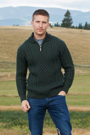 Aran Merino Wool Green Half Zip Sweater