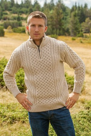 Aran Merino Wool Parsnip Half Zip Sweater