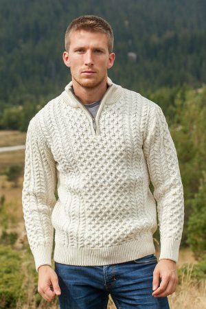 Aran Merino Wool Natural Half Zip Sweater