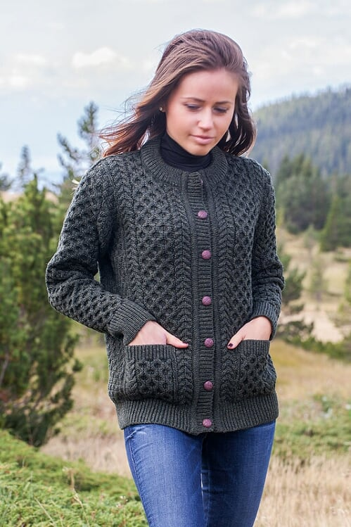 Aran Merino Wool Cable Knit Green Cardigan 1505