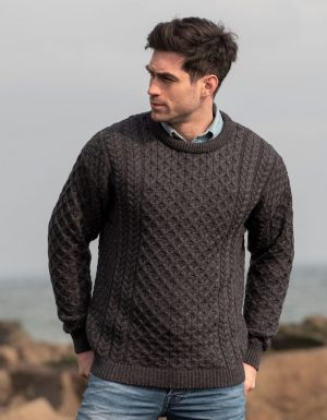 Aran Woollen Mills Merino Charcoal Fisherman Sweater