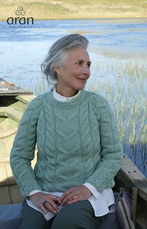 Aran Woollen Mills Sea Green Raglan Sweater