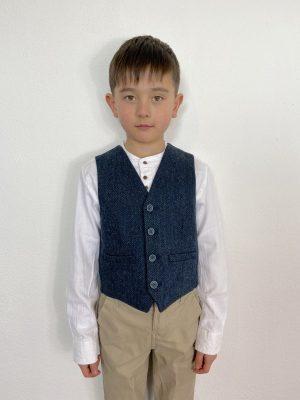 Kids Blue Irish Wool Waistcoat