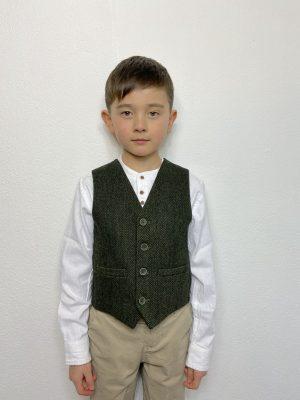Kids Green Irish Wool Waistcoat