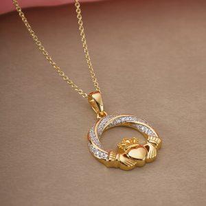 Solvar Gold Plated Silver Cz Claddagh Pendant s46748
