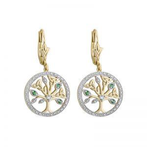 Solvar 14k White & Yellow Gold Tree Of Life Earrings s34111