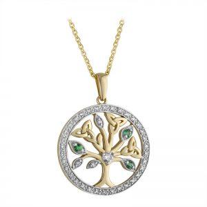 Solvar 14k White Yellow Gold Diamond & Emerald Tree Of Life Pendant s46785