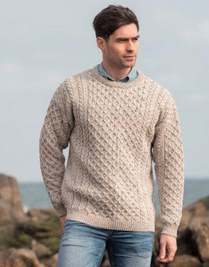 Aran Merino Wool Fisherman Fleck Sweater