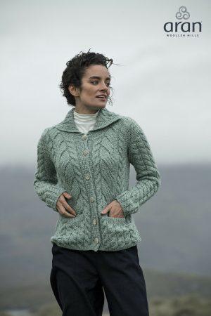 Aran Woollen Mills Cable Knit Super Soft Merino Green Cardigan - b940 373
