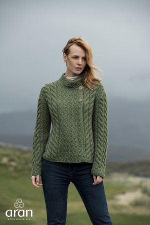 Aran Woollen Mills Super Soft Trellis Cable Knit Green Cardigan b840 430
