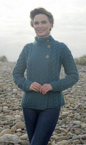Aran Woollen Mills Super Soft Trellis Irish Sea Cardigan b840 443