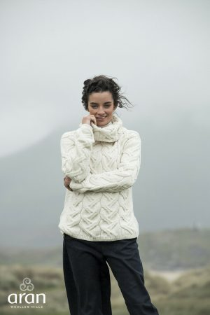 Aran Woollen Mills Supersoft Chunky Knit Cowl Sweater b692 367