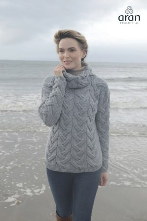 Aran Woollen Mills Supersoft Chunky Ocean Gray Sweater b692 385