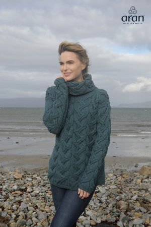 Aran Woollen Mills Supersoft Chunky Sea Blue Sweater