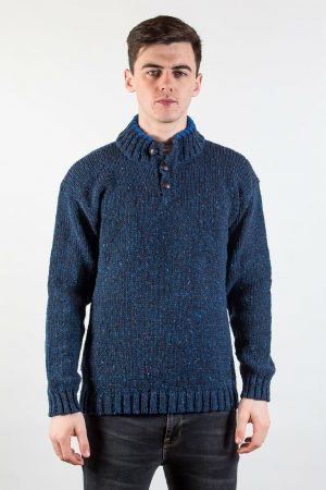 Donegal Wool Three Button Navy Sweater