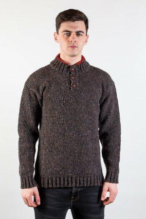 Donegal Wool Three Button Turf Orange Sweater