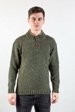 Donegal Wool Three Button Green Sweater