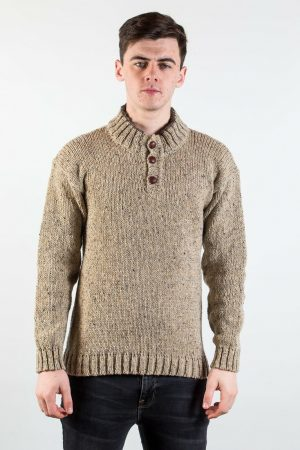 Donegal Wool Three Button Oatmeal Sweater