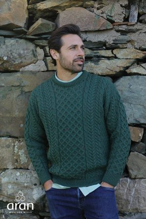 Aran Woollen Mills Merino Wool Fisherman Green Sweater a823 403
