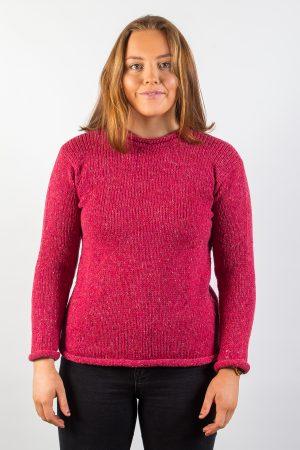 Donegal Wool Women's Roll Neck Pink Sweater
