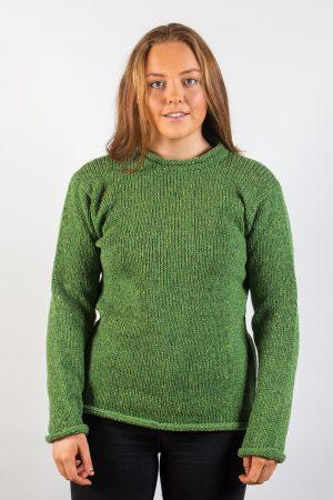 Donegal Wool Women's Roll Neck Green Sweater