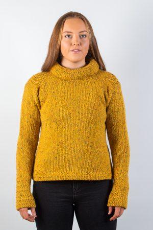 Donegal Wool Women's Turtle Neck Mustard Sweater