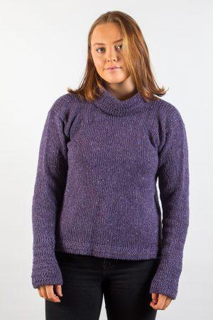 Donegal Wool Women's Turtle Neck Purple Sweater