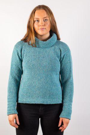 Donegal Wool Women's Turtle Neck Aqua Sweater