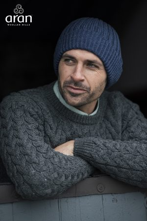 Ribbed Aran Wool Blue Hat