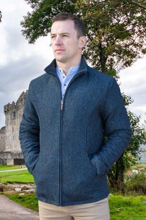 Donegal Men's Full Zip Blue Herringbone Jacket