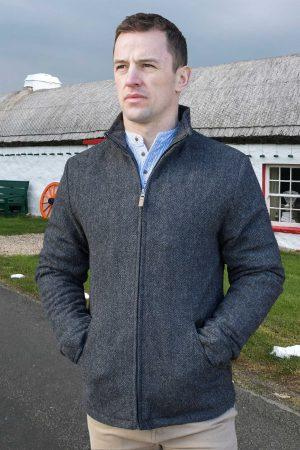 Donegal Men's Full Zip Charcoal Herringbone Jacket