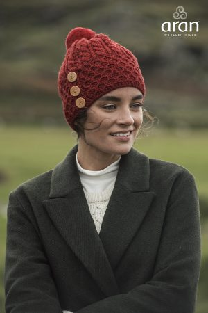 Aran Woollen Mills Merino Wool Red Hat