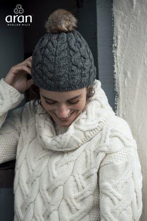 Aran Charcoal Wool Beanie Hat