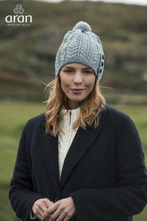 Aran Woollen Mills Button Pom Pom Hat