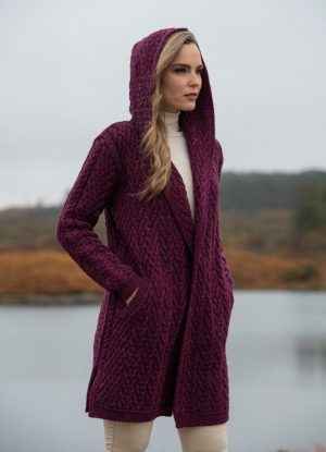Mayo Purple Shawl Hooded Aran Cardigan