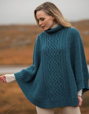 Aran Crafts Brosna Soft Ribbed Poncho