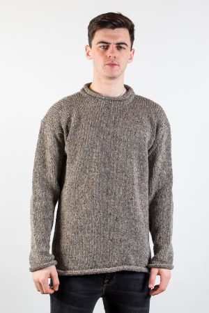 Donegal Wool Gray Curl Neck Sweater