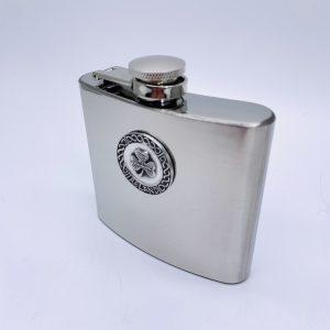 Mullingar Pewter Shamrock Whiskey Flask