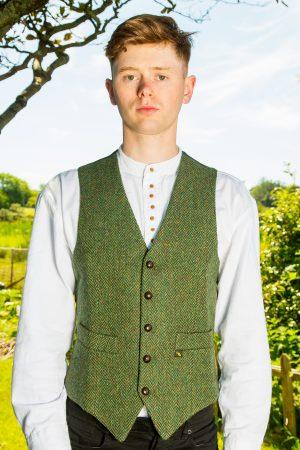 Donegal Tweed Green Waistcoat