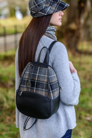 Mucros Black Gray Check Colleen Bag
