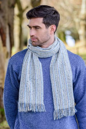 Mucros Donegal Tweed Striped Scarf