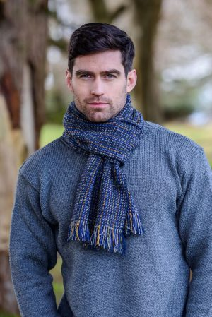 Mucros Donegal Tweed Navy Scarf