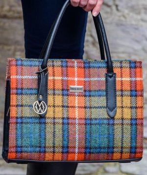 Mucros Orange Check Aoife Bag