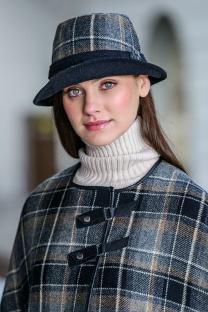 Mucros Black Gray Clodagh Hat