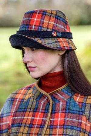 Mucros Orange Check Clodagh Hat