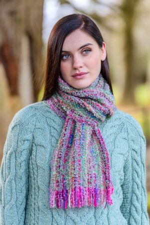 Mucros Pink Mix Mohair Scarf