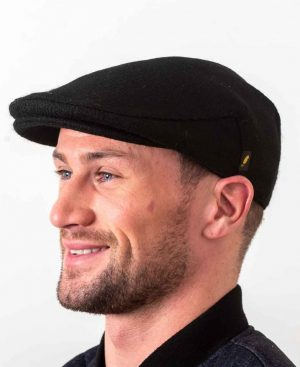 Donegal Tweed Flat Cap Black