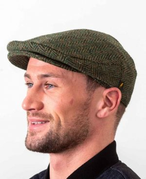 Donegal Tweed Flat Cap Green Herringbone