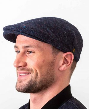 Donegal Tweed Navy Flat Cap
