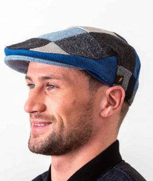 Donegal Tweed Blue Patch Flat Cap